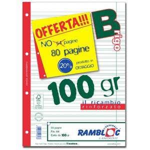FOGLI A FORI CON RINFORZO LATERALE A4 40fg 100gr Riga B