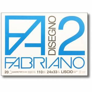 Album Disegno 24x33cm 110gr 20fg Fabriano F2 Quadretto 5mm