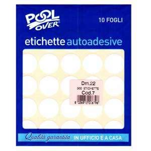 Etichette Adesive Rotonde Diam.22mm 300pz Bianco