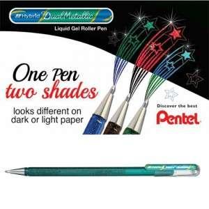 PENNA ROLLER PENTEL HYBRID DUAL 1.0mm GREEN/METALLIC BLUE