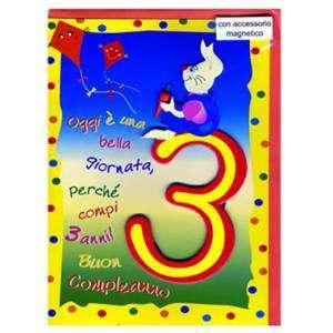 BIGLIETTO AUGURI 12x18cm Compleanno 3 anni