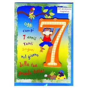 Auguri Di Buon Compleanno 7 Anni.Biglietto Con Busta 12x18cm Compleanno 7 Anni