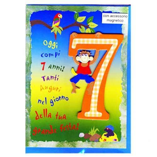 Auguri Buon Compleanno 7 Anni.Biglietto Con Busta 12x18cm Compleanno 7 Anni
