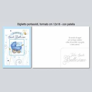 BIGLIETTO CON BUSTA 12x18cm BATTESIMO PORTASOLDI BIMBO