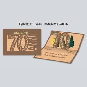 BIGLIETTO AUGURI 3D - 70 ANNI 12x18cm