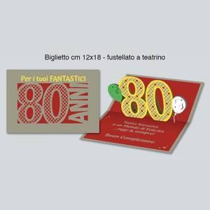 BIGLIETTO AUGURI 3D - 80 ANNI 12x18cm
