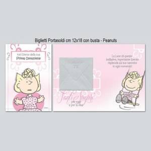 BIGLIETTO CON BUSTA 12x18cm COMUNIONE PORTASOLDI Peanuts