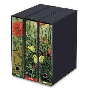 Registratore 2 Anelli 29x35x8cm c/scatola Set 3pz Kaos Van Gogh/Papaveri e Farfalle